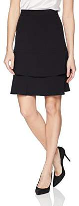 Nine West Women's BI Stretch Skirt with Double Ruffle