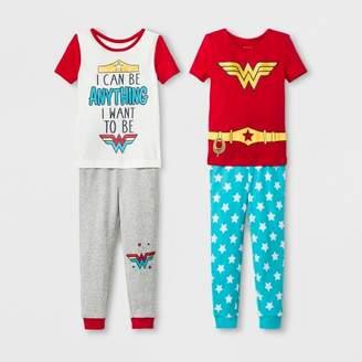 Wonder Woman Toddler Girls' Wonder Woman 4pc Short Sleeve Pajama Set - Gray heather
