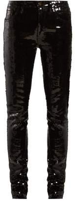 Saint Laurent Sequinned Slim Fit Cotton Blend Trousers - Womens - Black