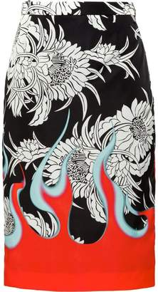Prada dahlia floral gabardine skirt