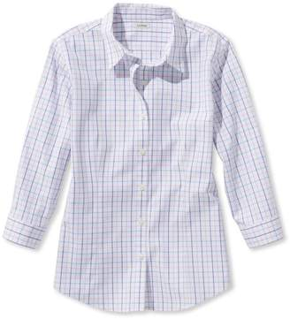 L.L. Bean L.L.Bean Wrinkle-Free Pinpoint Oxford Shirt, Three-Quarter-Sleeve Check