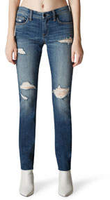 Mid-Rise Ripped Faded Skinny Jeans