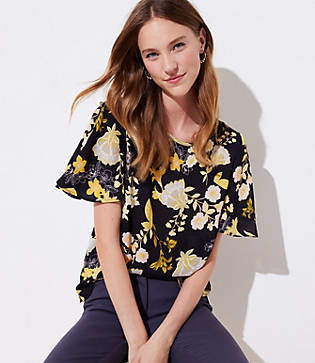 LOFT Golden Floral Covered Button Sleeve Top