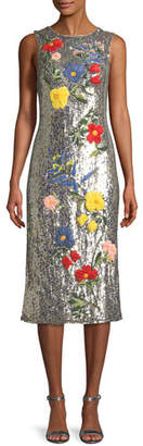 Alice + Olivia Nat Sleeveless Sequined Floral-Embroidered Sheath Cocktail Dress