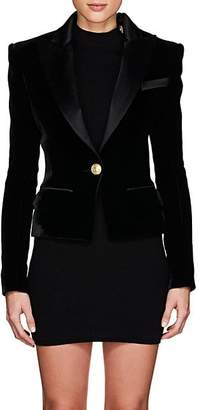 Balmain Women's Velvet & Satin Single-Button Blazer - Black