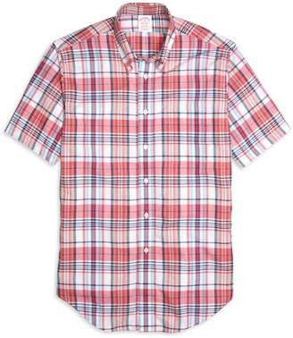 Brooks Brothers Madison Fit Pink Madras Short-Sleeve Sport Shirt