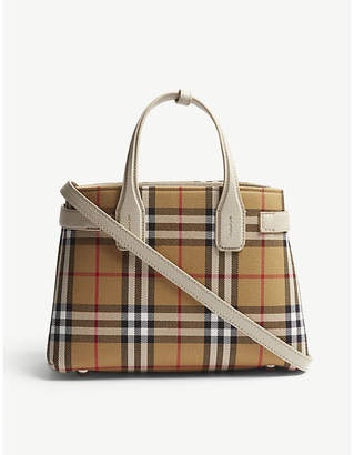 Burberry Brown Check Banner Small Vintage And Leather Tote Bag