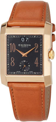 Bulgari Enigma By Gianni Square Watch w/ Leather Strap, Tan