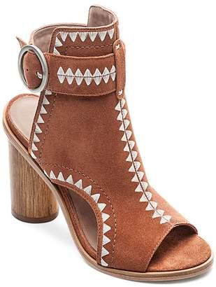 Bernardo Women's Embroidered Suede Peep Toe Block Heel Booties