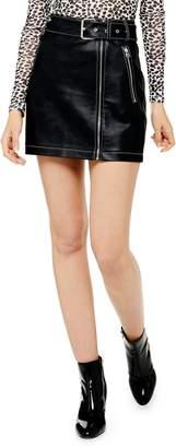 Topshop Faux Leather Miniskirt