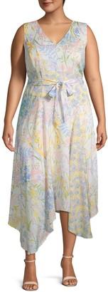 Calvin Klein Collection Plus Floral Handkerchief Dress