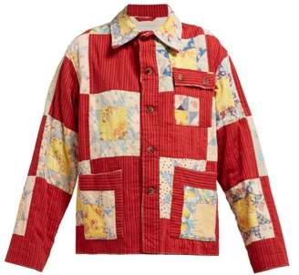 Bode - Patchwork Single Breasted Cotton Jacket - Womens - Red Multi