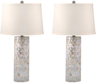 Mother of Pearl Elk Lighting Cylinder Table Lamps Set Of 2