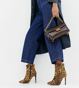 London Rebel Leopard Wide Fit Stiletto Ankle Boots