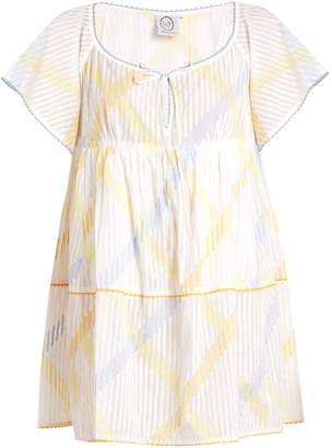 Thierry Colson Raffia stripe-print cotton-voile dress