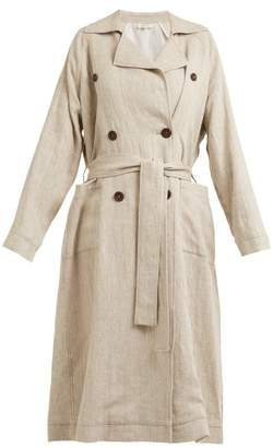 Isa Arfen Double Breasted Linen Trench Coat - Womens - Beige