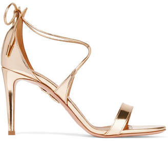 Aquazzura Linda Mirrored-leather Sandals - Gold