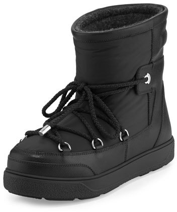 Moncler Moncler Fanny Lace-Up Leather Ankle Boot, Black