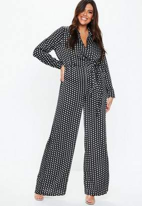 Missguided Plus Size Black Polka Dot Wrap Romper