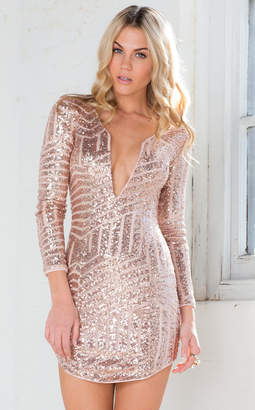 Showpo Hollywood Glamour Dress in Rose Gold Sequin