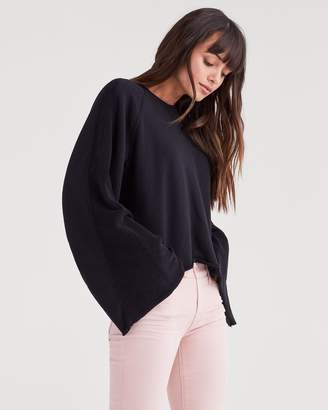 7 For All Mankind Flare Sleeve Crop Sweatshirt in Jet Black