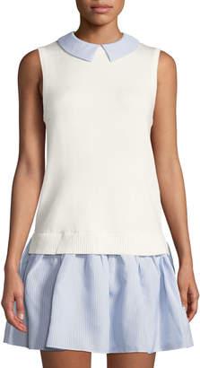 ENGLISH FACTORY Sleeveless Striped Shirtdress w/ Sweater Vest