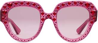 Gucci Square-frame acetate sunglasses with crystals