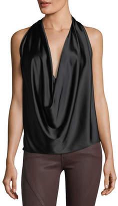 Ramy Brook Harriet Sleeveless Draped Silk Halter Top