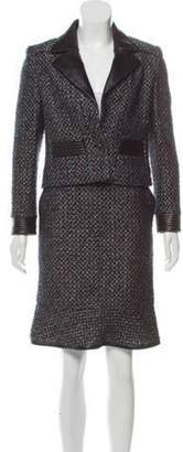 Chanel Leather-Trimmed Skirt Suit Black Leather-Trimmed Skirt Suit