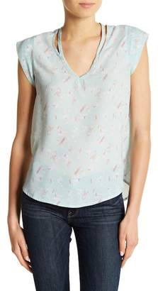 Sweet Rain Apparel Cutout Accent Bird Print Blouse