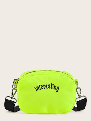 Shein Letter Embroidery Neon Lime Crossbody Bag