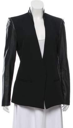 Helmut Lang Leather-Trimmed Long Sleeve Jacket