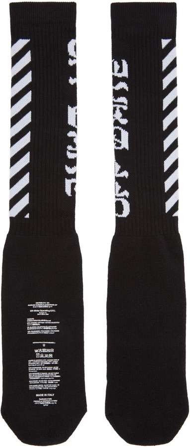 Off-White Black Diagonal Logo Socks 2