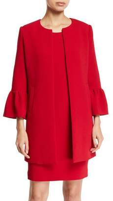 Albert Nipon Two-Piece Trumpet-Sleeve Coat & Mini Dress Set