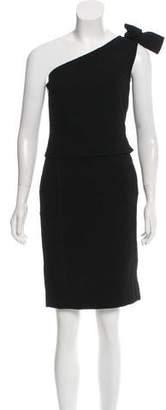 Oscar de la Renta Wool One-Shoulder Dress