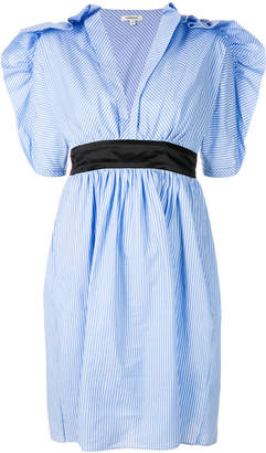 Manoush ruffle trim striped dress