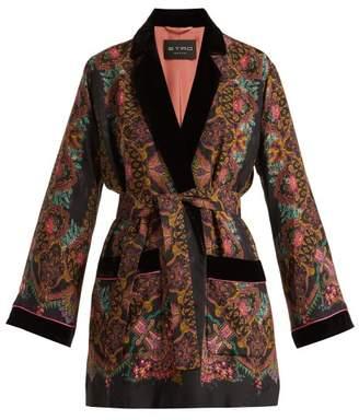 Etro Jade Paisley Print Kimono Jacket - Womens - Black Multi