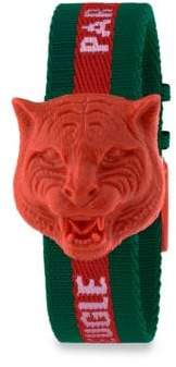 Gucci Resin Carved Tiger Nylon Strap Watch