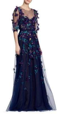 Marchesa Floral Applique Gown