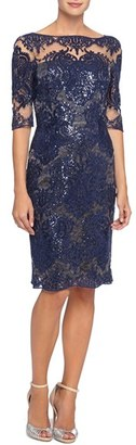 Petite Women's Tahari Sequin Lace Sheath Dress $189 thestylecure.com