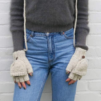 Aura Que Fair Trade Knit Wool Fleece Mitten Fingerless Gloves