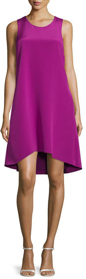 3.1 Phillip Lim 3.1 Phillip Lim Sleeveless Ruffle-Trim Silk Shift Dress, Magenta