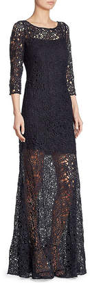Kay Unger Three-Quarter Sleeve Lace Sheer Gown