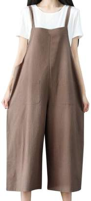 cadc04bde46 Elogoog Clearance Women Loose Overalls Cotton Linen Long Suspender Jumpsuit  Bib Baggy Romper Pants Plus Size