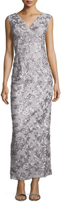 Marina Rosette Sequined Sleeveless Gown, Silver $112 thestylecure.com