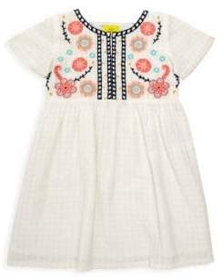 Sylvie Roller Rabbit Girl's Embroidered Floral Illusion Check A-Line Dress