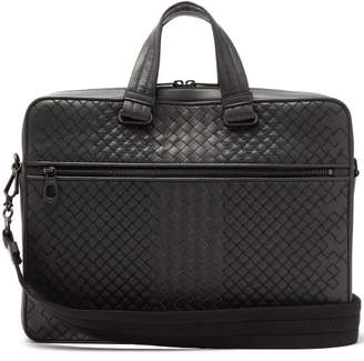 Bottega Veneta Aurelio Intrecciato Leather Briefcase - Mens - Dark Grey