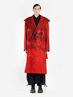 MEN'S RED PRINTED TRENCH COAT