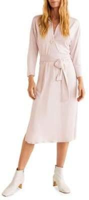 MANGO Pleated Waist Midi Dress