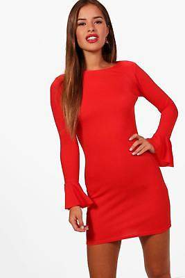 boohoo NEW Womens Petite Ruffle Cuff Long Sleeve Bodycon Dress in Fire Red size